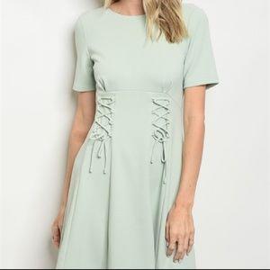 Mint Green lace up detail Dress